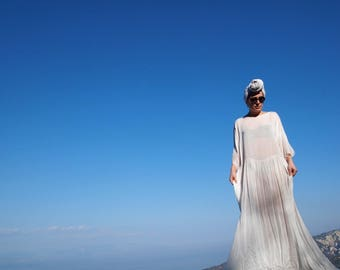 White Ancient Maxi Beach Dress // Beach Cover Up // Summer Cardigan // GreekStyle Dress  // Cotton Gauze