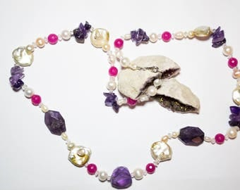Ladies necklace with freshwater pearls with Sterling Silver Clasp 925