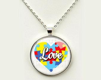 Autism Awareness Love in Heart Pendant