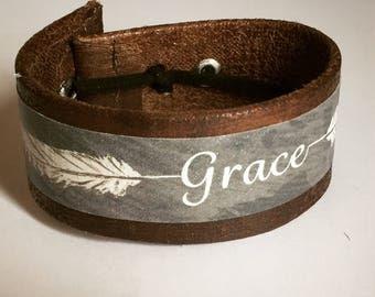 "handwriting Bracelet | 1"" Grace Vegan Cuff Bracelet | Customization / Personalized available | Vegan leather handmade in Seattle |"