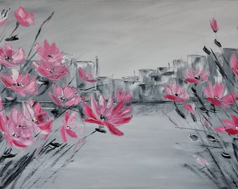 Pink haze. Original oil painting on canvas, Oil painting, abstraction, oil, pink flowers, impasto art on canvas by Alekseenko 40x20 inches