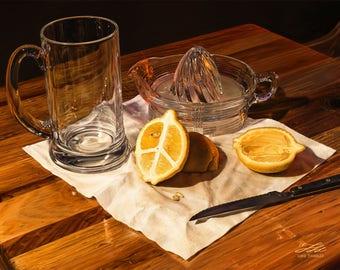 Peace of Fruit - Digital Painting Giclee Print - lemon, juice, peace sign, glass, still life
