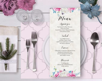 Floral Wedding Menu Pink Blue White Watercolor Roses Digital Printable Wedding Boho Long Menu Card Bohemian Food Bridal Wedding - WS009