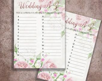 Wedding A-Z Bridal Shower Printable Game Vintage Roses Wedding Card Rose Gold Letters Instant Download - BG004