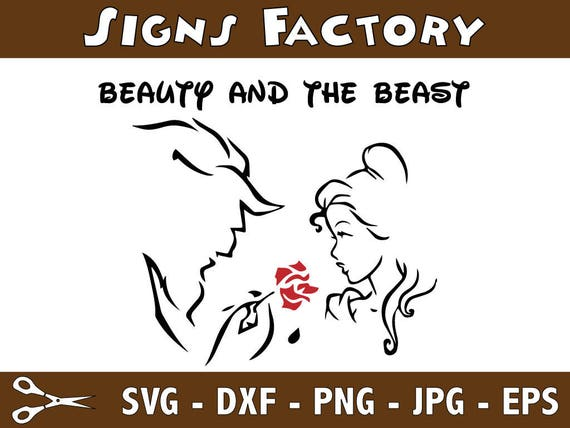 Beauty And The Beast Silhouette Outline CutoutVector Art Cricut Cameo Die Cut Instant Download Digital Pdf Svg