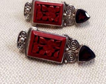 Ruby Vintage Clip on Earrings Sterling Silver 925 Women's Earrings Red