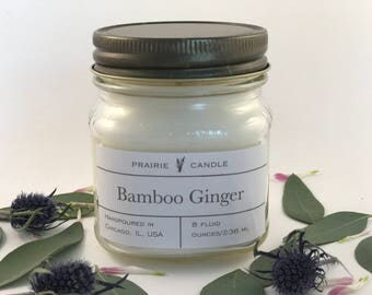 Bamboo Ginger soy candle bamboo candle gifts for her