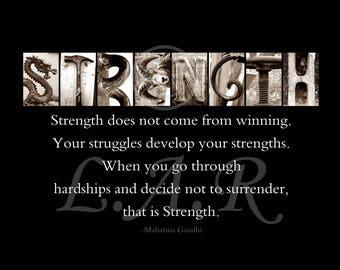 Strength...8x10in Letter Art Print, Alphabet Photography