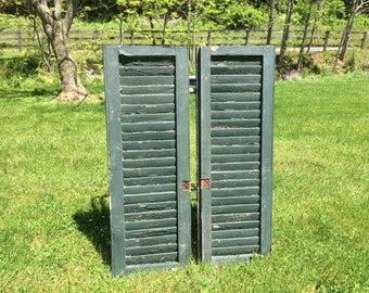 Pair of Antique VINTAGE Farm house barn WINDOW wood louvered SHUTTERS shabby chic chippy paint country primitive decor wall hanging