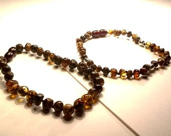 Natural Baltic Amber Bracelets for Men Baroque Dark Cherry Metal Imitation