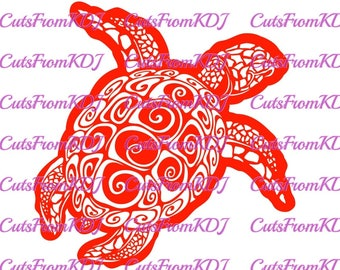 Tribal Sea Turtle SVG/DXF Silhouette Vector Woodworking Metalworking CNC Laser Vinyl Ocean Animal Wall Decor Home  Engraving Etching