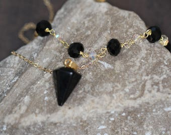 Black Agate, Layer Necklace,