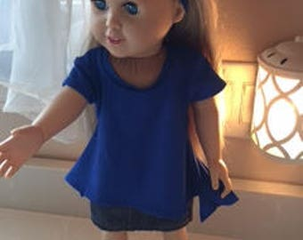18 inch doll handmade handkerchief hem tunic with headband