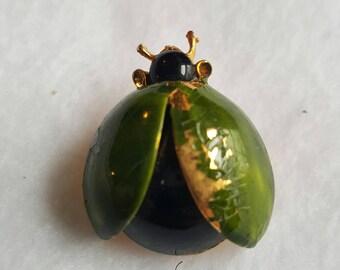 Vintage Enameled Green Beetle Pin