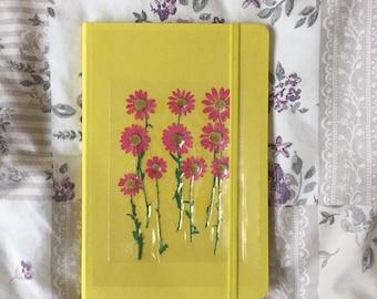 Handmade pink daisy pressed journal