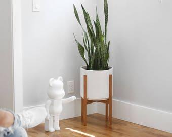 "Medium - Mid-century Modern Planter with Oak or Walnut Wood Planter Stand - 10"" White Ceramic pot"