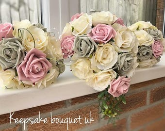 Blush pink, ivory and grey Bridal bouquet