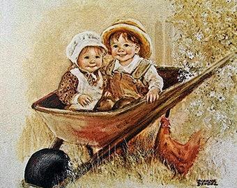 Kids In The Wheelbarrow - Dianne Dengel Print