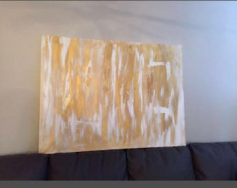 Gold and white abstract painting