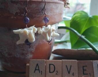 Snake vertebrae and amethyst earrings