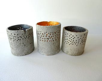 Concrete/cement tea-light holders - handcrafted