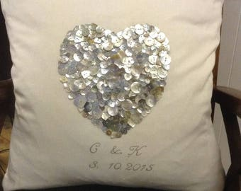 Mother of pearl heart cushion