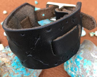 Single Wide Black Stamped Leather Cuff Bracelet