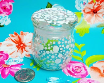 White Polka Dot Hand Painted Glass Jar with Gasket Lid 75ml FREE SHIPPING