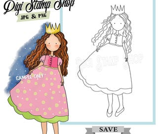 Magical Princess Stamp, Digital Stamp, Queen Stamp, Digi Stamp, Girl Stamp, Color In Page, Card Design, Lineart, dress stamp, Crown Stamp