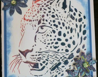Large A4 Card - Textured stenciled Leopard with flowers -with love suitable for a lot of occasions