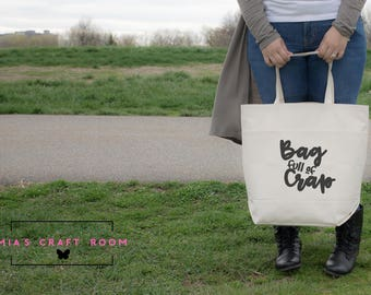 Bag Full of Crap Canvas Bag [ LARGE Canvas Tote Bag with two Large front pockets]