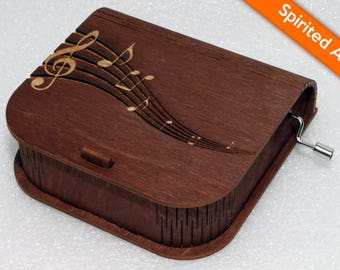 "Engraved Wooden Music Box  ""Spirited Away"" #4 - Hand Crank Movement"