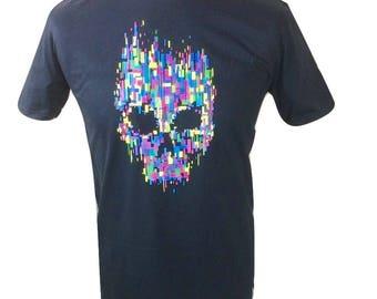 Men's Black T Shirt Multi Coloured Skull design