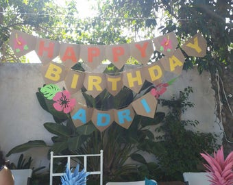 Party Banner, Tropical Party Banner Customizable