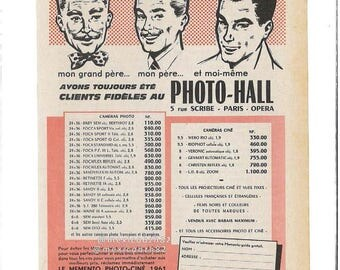 Advertising vintage 50s PHOTO HALL my grandfather, my father and I have always been faithful to the Poto-Hall