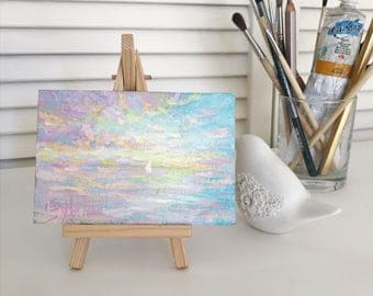 "original seascape tiny oil painting Light Pink sunrise ocean artwork 3.5x5"" book shelf bedsidetable accessory Fireplace shelf Decor"