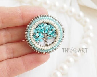 Spring Tree Embroidered Brooch handmade elegant jewelry seed beads embroidery Pin small round brooch Blossom tree sweet tenderness