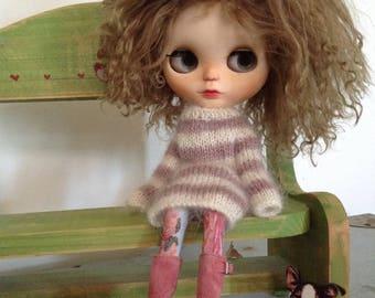 OOAK Hand Knitted Blythe Jumper Dress - Soft Dusky Pink & Creamy Ivory Mohair