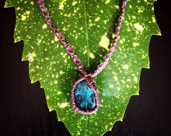 Chrysocolla Macrame Necklace/ Chrysocolla Pendant Necklace
