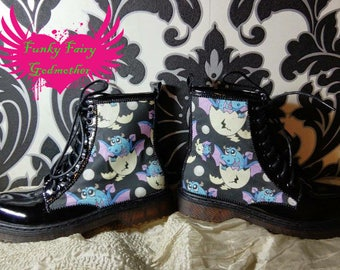 DM style boots, ankle boots, women's boots, children's boots, customised boots, customised shoes, flat boots, adult boots