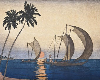 "Art Print Reproduction ""Ceylon"" by Charles W. Bartlett, woodblock print reproduction, cultural, sunset, palm trees, Sri Lanka, sailboats"