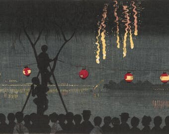 "Japanese Art Print ""Fireworks in Ikenohata"" by Kiyochika Kobayashi, woodblock print reproduction, asian art, cultural art, night, festival"