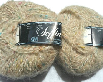 Soffia wool mohair speckled 2 50g skein lot