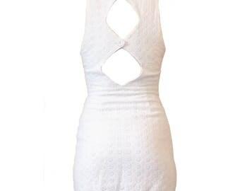 Back cut out boho white crochet mini summer dress