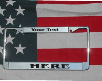 YOUR TEXT HERE Chrome Laser Engraved License Plate Frame Free Shipping Custom Personalized