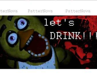 "Five Nights At Freddy's Water Bottle Lables - 3 different design - Wrapper ""Let's Drink"" - Digital File - INSTANTLY DOWNLOADS"