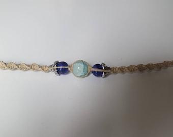 Sky Blue/Dark Blue Glass beaded Hemp Bracelet