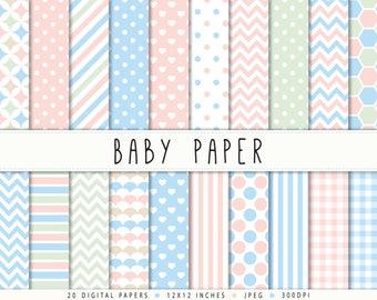 Digital Paper Baby Shower Nursery Commercial use Pink Mint Coral Blue Pastel Digital Paper Pack