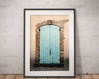 Avignon Blue Door   Architecture Photography   Instant Download   Printable Art   Avignon, France   Rustic Blue Door   Fine Art Photography