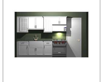 Kitchen Design, with Floorplan, Elevations, 3-D Rendered Pictures & Parts List